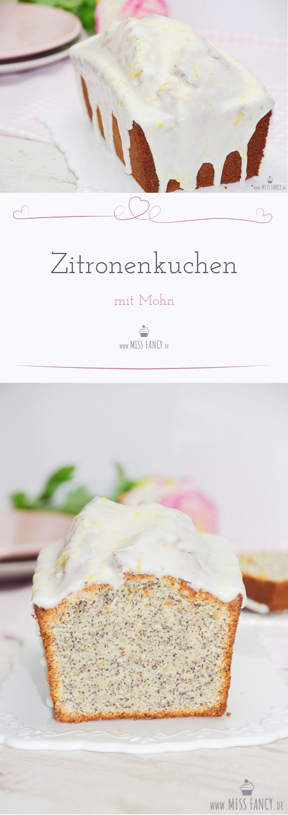 Leckerer Zitronenkuchen mit einer Puderzuckerglasur